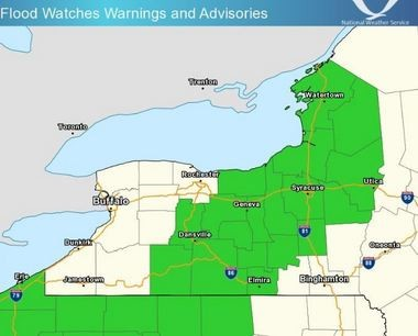 A flash flood watch has been extended until 4 p.m. today for the area highlighted in green.