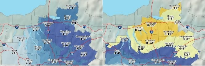 Three to 4 inches of snow are expected to fall tonight into Tuesday (left), and an addition 8 to 12 inches from Wednesday afternoon through Thursday in Central New York.