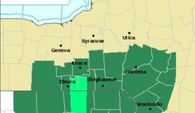 A flash flood watch (dark green) for the Southern Tier doesn't apply to most of Central New York, which has been drier lately.