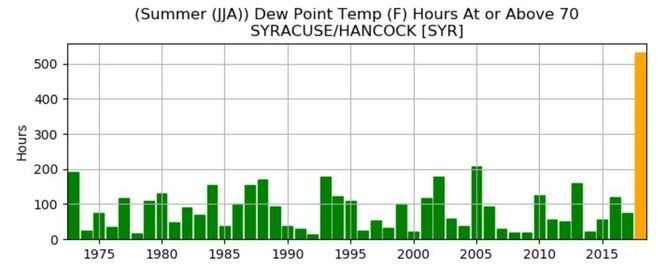 Syracuse had twice as many hours of high humidity this summer as the nearest year, 2005.