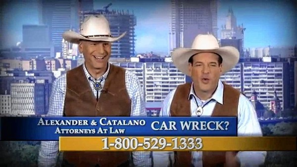 Screenshot of a TV ad for the Alexander & Catalano law firm with lawyers James Alexander, left, and Peter Catalano.