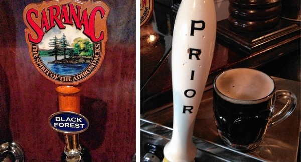 A Saranac Black Forest tap handle at the Scotch 'N Sirloin restaurant in DeWitt (left). At Clark's Ale House in Syracuse, the same beer is served under a tap handle labeled Prior. Saranac plans to discontinue the beer, at least for now.
