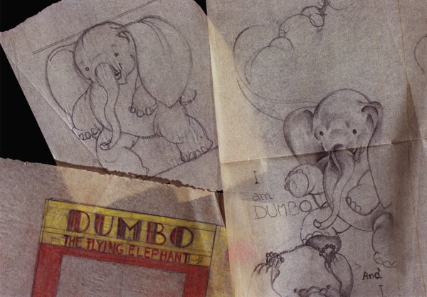 Sketches of the original Dumbo, from a box brought to the Syracuse University Archives by longtime columnist Dick Case.