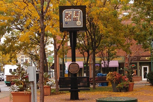 The 24-second shot clock in Armory Square, pictured in 2006 at the corner of Walton and Franklin streets, pays tribute to inventor Danny Biasone who first tested the basketball game-changer in Syracuse.