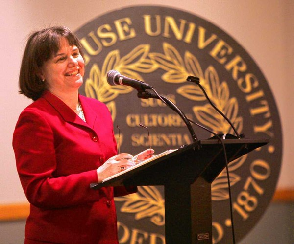 Catherine Bertini was chair of the United Nations Standing Committee on Nutrition when she spoke in 2005 at the 40th anniversary of Syracuse University's Thursday Morning Roundtable.
