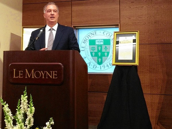 Jim Joseph, dean of the Madden School of Business at Le Moyne College, speaks May 4, 2016, during the annual Frank Fernandez Alumni Dinner at the college. Joseph praises Fernandez as a leader, saying he was a rigorous instructor and generous mentor who shaped the careers of Le Moyne students over four decades as a professor and business department chair.